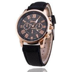 Woogoing Fashion Geneva Women Dress Leather Strap Casual Quartz Watches black
