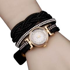 Woogoing Fashion Women Dress Korean Velvet Casual Quartz Watches black