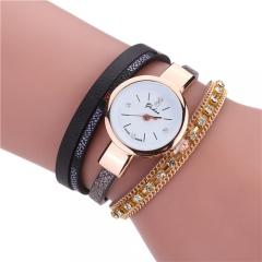 Ladies wrapped bracelet watch zircon claw chain watch black