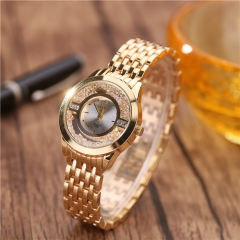 Full star diamond drill sand drill female watch fashion ball fine small dial Ms. quartz watch gold