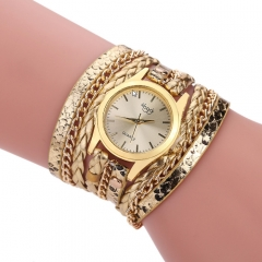 Coiled braided serpentine bracelet watch gold