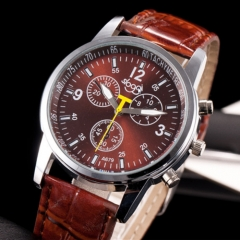 Three leisure quartz watch brown