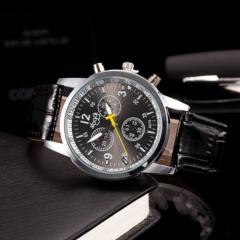 Three leisure quartz watch black