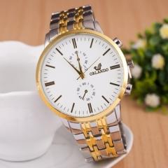 Gold Men Business Alloy quartz watch white one size