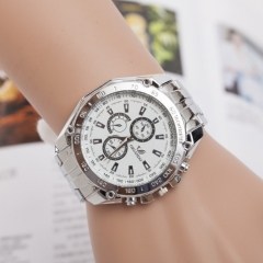 Three-eye alloy business quartz watch white one size