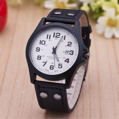Calendar quartz watch Men's military watch white black one size