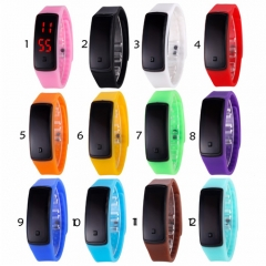 New Fashion LED Bracelet Digital Watches For Men&Ladies&Child black rubber