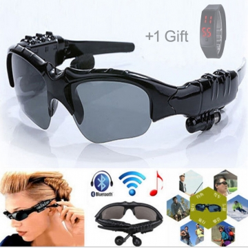 Sports Stereo Wireless Bluetooth 4.0 Eyeglasses Headset /Sunglasses Earphone black portable