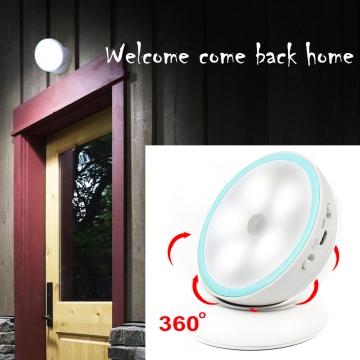 360 Degree Rotate Intelligent LED Night Light-Human Body Sensor Lamp Magnetic Adsorption white 6cm battery power