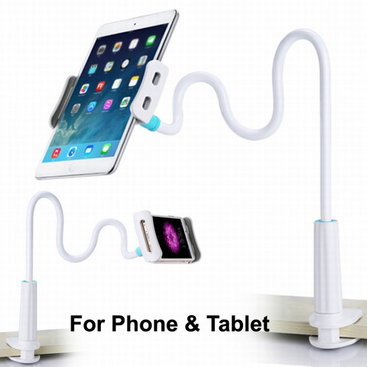For Cell Phone & Tablet-Universal Flexible Long Arms Mobile Phone Holder /Desktop Bed Lazy Bracket white for 3.5-10.5inch