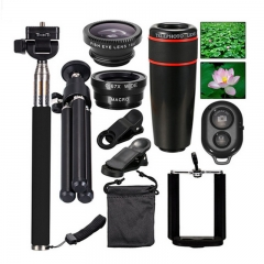 10 in 1 Phone Camera Lens -8x Lenses /Fish Eye / Wide Macro/Selfie Stick /Monopod Tripod black one size
