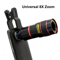 Universal Clip 8X Zoom Mobile Phone Telescope Lens-Telephoto External Smartphone Camera Lens black red