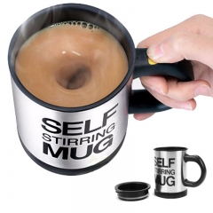 400Ml Automatic Electric Lazy Self Stirring Mug-Smart Stainless Steel Coffee Mixing Cup black one size