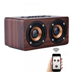 Top Quality Retro Wooden Bluetooth Speaker HIFI 3D Dual Loudspeaker Surround Music Player brown portable