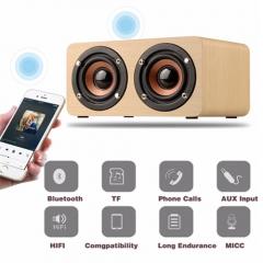 Top Quality Retro Wooden Bluetooth Speaker HIFI 3D Dual Loudspeaker Surround Music Player yellow portable