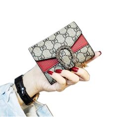 2019 INS Stylish Female Short wallets , Unique Leather Women Pocket Money Bag With ID Credit Card Black one size