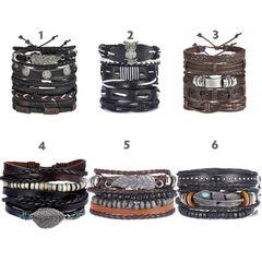 Vintage Multilayer Leather Bracelets,  Fashion Braided Handmade Rope Wrap Bracelets & Bangles 4 Adjustable