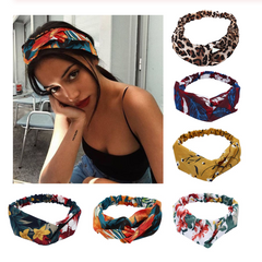 Fashion Hair Bands Print Headbands ,Bohemian Style Cross Knot Turban Bandage Hair Accessories As the picture 1