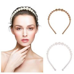 Elegant Big Pearls Hairband Beaded Bezel Pearl Headband ,Non-slip Hair Accessories Gold As the picture