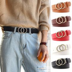 High quality PU Leather Metal Buckle , Fashion Women Waist Belt , Jeans Dress Waistband Camel