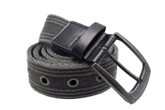Men's Military Water-Washed Canvas Waist Web Belt Leather Tipped End and Silver Metal Buckle black 105CM