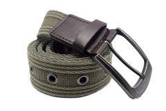 Men's Military Water-Washed Canvas Waist Web Belt Leather Tipped End and Silver Metal Buckle olive 105cm