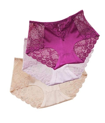 bc944fd7129 Sujisi Women s Sexy Lace Panties Intimate Lingerie 3 Pack Briefs Sheer Mid  Waist Underwear 3 colors