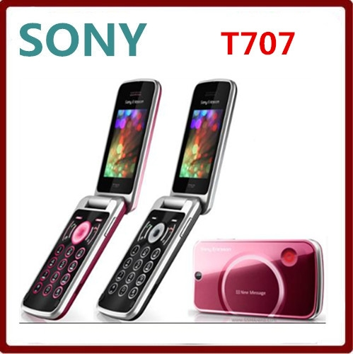 Refurbished phone Original Sony Ericsson T707 mobile phones 3G bluetooth  mp3 player 3 2MP camera red