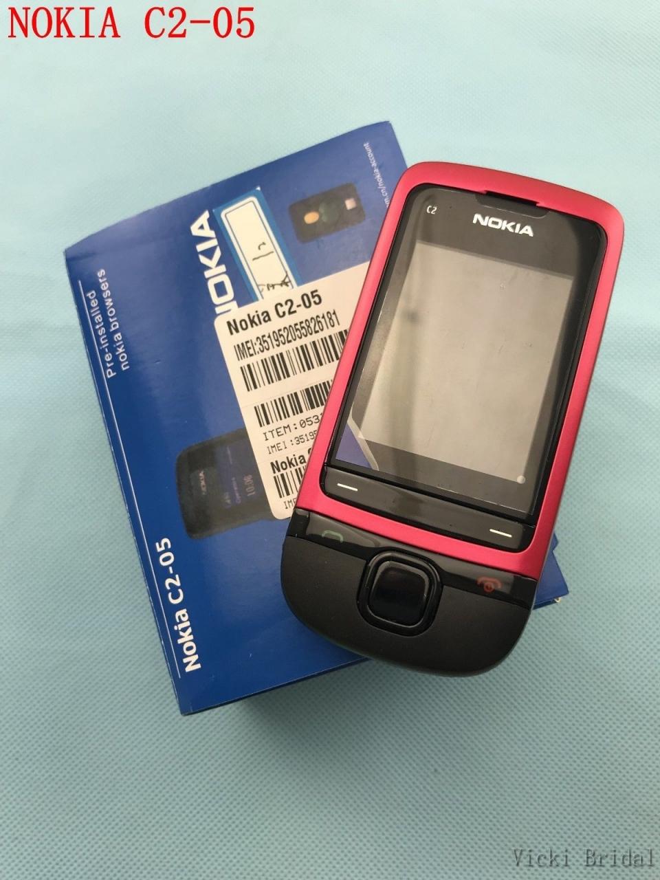 Refurbished phone Original Unlocked Nokia C2-05 slide cell phone Bluetooth phone black 2