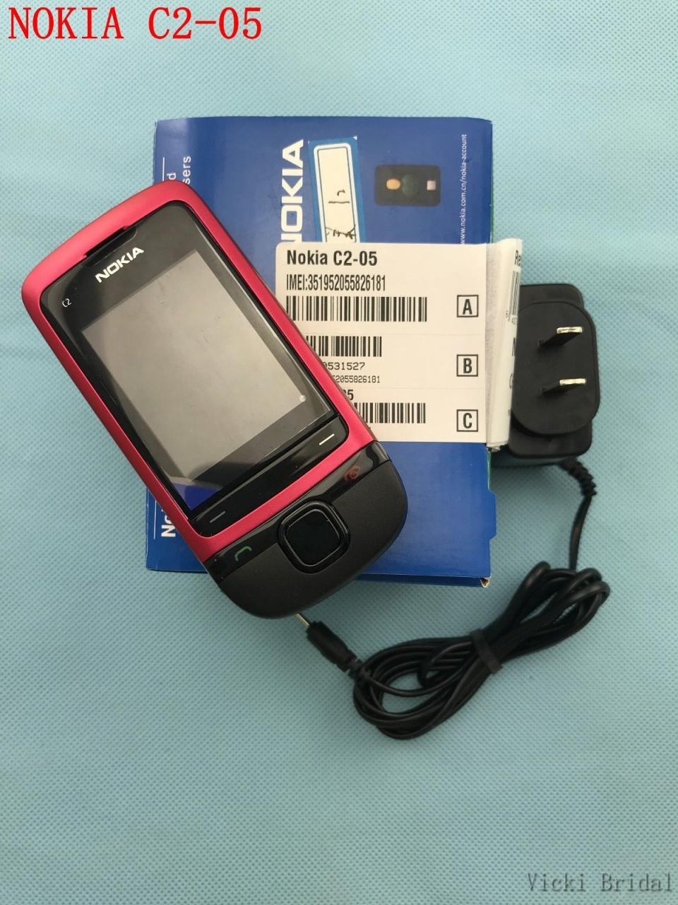 Refurbished phone Original Unlocked Nokia C2-05 slide cell phone Bluetooth phone black 1