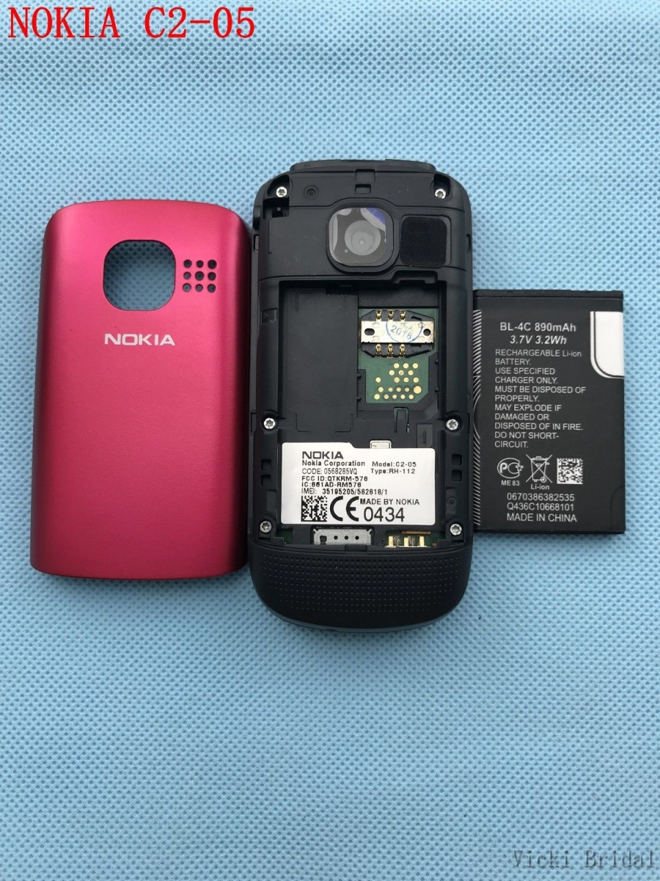 Refurbished phone Original Unlocked Nokia C2-05 slide cell phone Bluetooth phone black 5