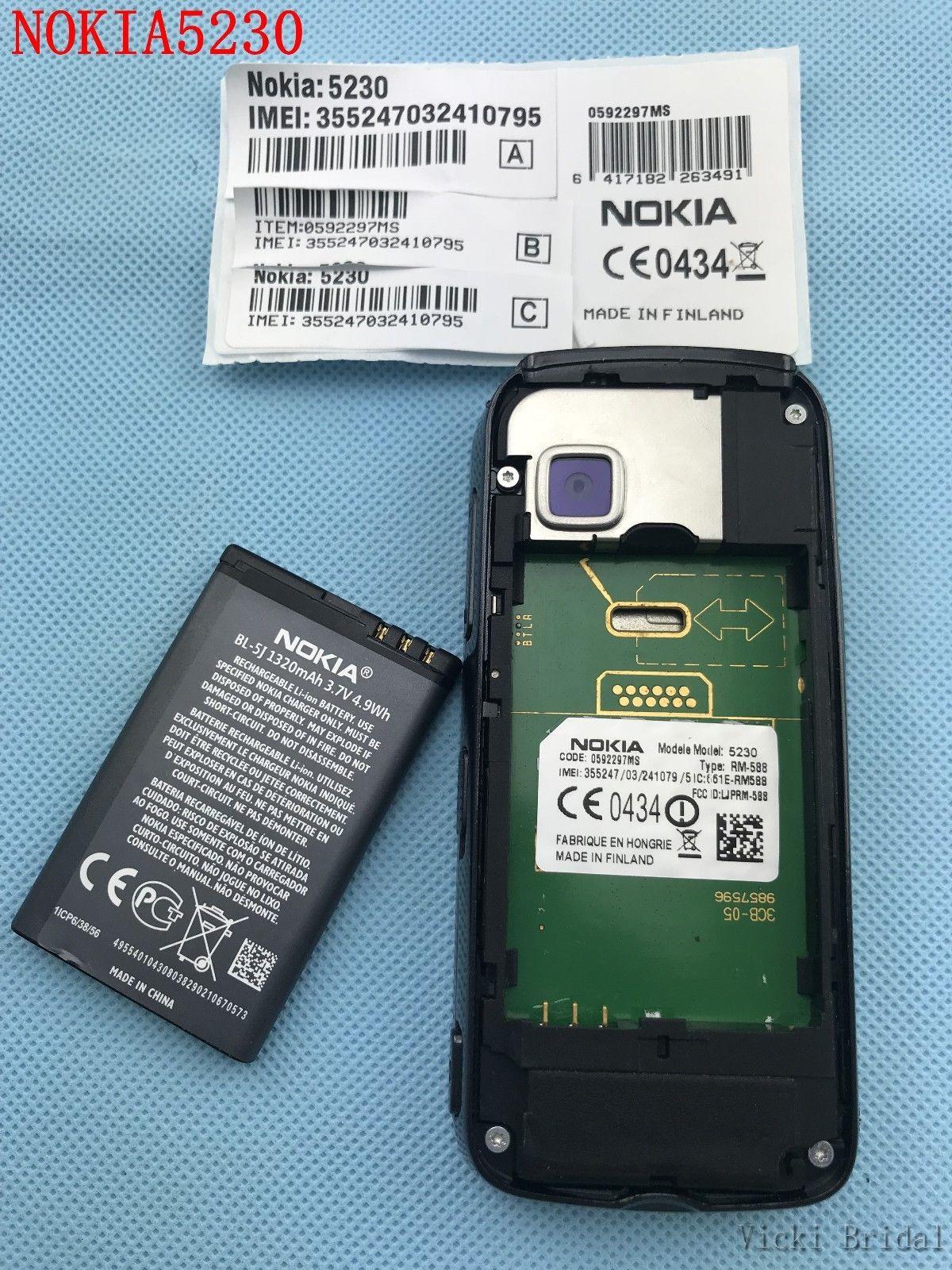 "Refurbished smartphone Nokia 5230 GPS 3G 3.2"" Bluetooth JAVA 2MP Unlocked Mobile Phone white 16"