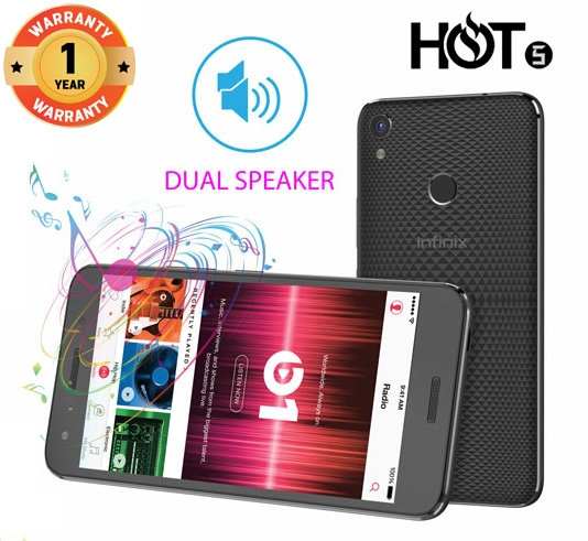 INFINIX HOT 5 X559C, 5.5 In, 16+2GB, 8+5MP, 3D Stereo Dual Speaker, FingerPrint, 4000mAH, SmartPhone Black
