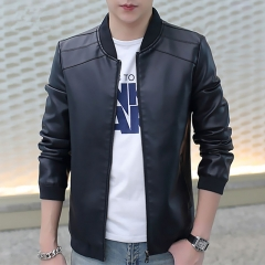 New Men's Leather Jacket Brand Motorcycle Outwear Leather PU Jackets Slim Zipper Coat Size M-3XL123 black m