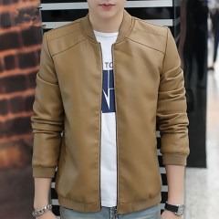 New Men's Leather Jacket Brand Motorcycle Outwear Leather PU Jackets Slim Zipper Coat Size M-3XL khaki m