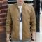 New Men's Leather Jacket Brand Motorcycle Outwear Leather PU Jackets Slim Zipper Coat Size M-3XL khaki m