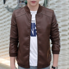 New Men's Leather Jacket Brand Motorcycle Outwear Leather PU Jackets Slim Zipper Coat Size M-3XL brown m