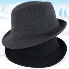 Thicken Woolen Men Fedora Hat Floppy Brim Woolen Felt Bowler Hat Casual Dome Winter Derby Hat Caps Black M
