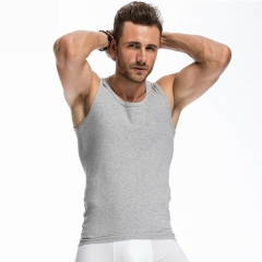 Men's  Vest Fitness Elastic Casual O-neck Breathable Cotton Solid Undershirts Male Tanks white M Cotton