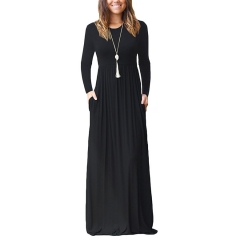 Women Long Sleeve Loose Plain Maxi Dresses Casual Long Dresses With Pockets Solid Color Dress S Black
