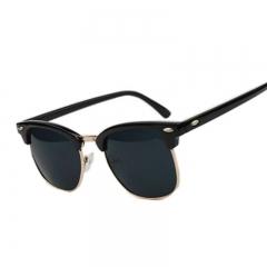 High Quality Half Metal Sunglasses Men Glasses Mirror Sun Glasses Fashion UV400 Classic Black One size