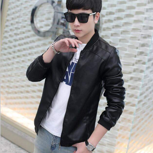 New Men's Leather Jacket Brand Motorcycle Outwear Leather PU Jackets Slim Zipper Coat Size M-3XL black m