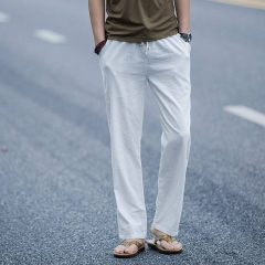Men's Casual Beach Trousers Natural Linen Pants Elastic Waist Straight All-match Solid Thin Pants white m
