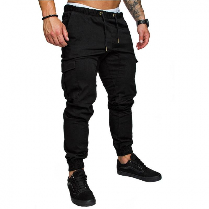 Men's Straight Leg Trousers Casual Cotton Pencil Jogger Cargo Pants Men Multi-pocket Sweatpants black m