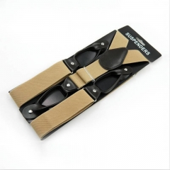 High Quality Men's Suits Elastic Striped Suspenders Men PU Leather Khaki free size