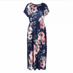2018 Women's O-Neck Floral Print Pattern Boho Beach Dress Summer Casual Pocket Maxi Long Dress s blue