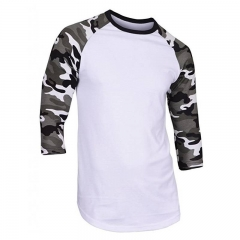 Men's Casual 3/4 Sleeve Baseball Tshirt Raglan Jersey Shirt Camo Print Men's Loose Tops Short Sleeve white 1 s spandex