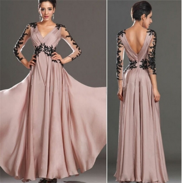 Fashion Spring Autumn Women Clothes Patchwork Lace Backless Sexy Dress Women Party Dresses pink m