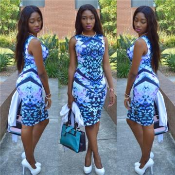 Fashion Summer Women Dress Sleeveless Flower Print Slim Sexy Ladies Vest Dresses Female Clothing blue m