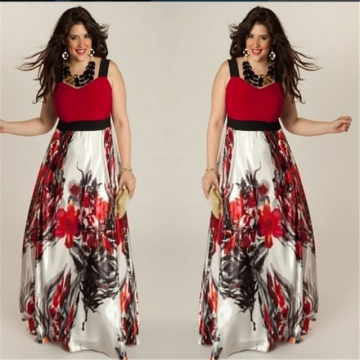 Fashion Plus Size Summer Long Dress Women's Clothes Elegant Print Sling Women Maxi Dresses red l